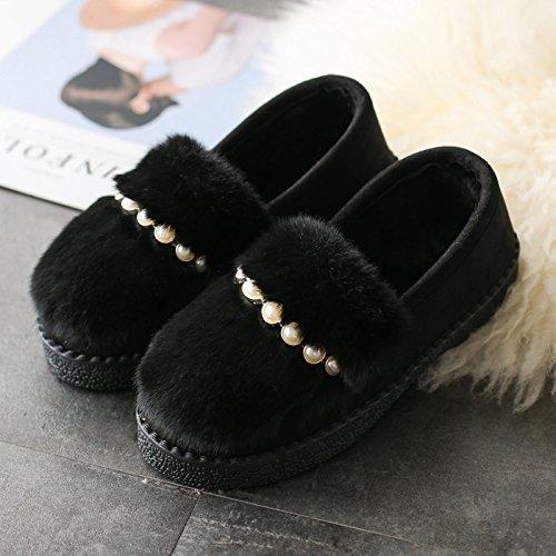 DogHaccd pantofole,Scarpe di cotone di donne di soggiorno nella bella stagione invernale plus peluche di velluto pantofole, caldo scarpe antiscivolo coperta spessa usura Nero3