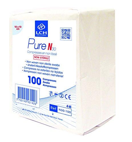 LCH - N30-100 - Compresses Pure N Non Tissé Non Stériles - Douces au Toucher - Ne se Déforment Pas - N'adhérent pas à la Peau - Compatible avec toutes les Solutions Antiseptiques