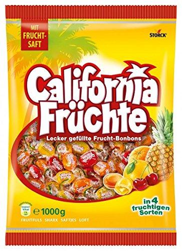 Storck California Früchte – Fruchtige Lutschbonbons mit Fruchtsaftfüllung in verschiedenen Geschmacksrichtungen wie Ananas & Grapefruit –  1 kg Beutel