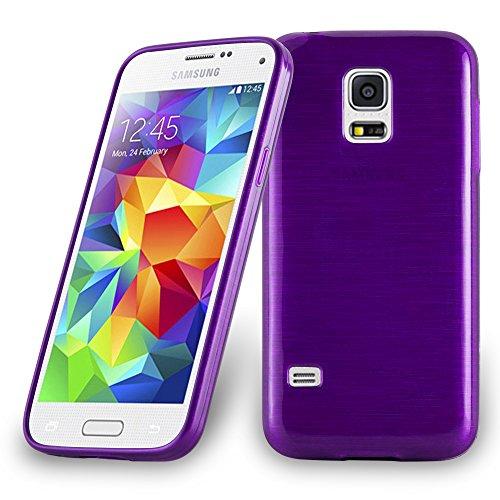 Cadorabo Hülle für Samsung Galaxy S5 Mini / S5 Mini DUOS - Hülle in LILA – Handyhülle aus TPU Silikon in gebürsteter Edelstahloptik (Brushed) Silikonhülle Schutzhülle Soft Back Cover Case Bumper
