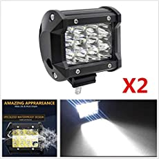 AutoTrends 2pcs 4INCH 36W 12 LED Spot Light Work Bar Driving Fog Offroad SUV 4WD for Force One