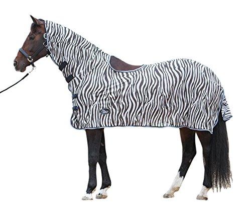 Harry\'s Horse 32205027-175cm Fliegendecke Mesh, Halsteil und Satteloffnung, M, Zebra grau