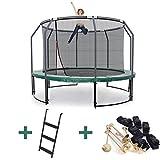 Ampel 24 Deluxe Outdoor Trampolin 305 cm mit Netz innen, Leiter & Windsicherung | Gartentrampolin mit dem Maximum an Sicherheit | Belastbarkeit 150 kg