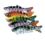 A-szcxtop Multi jointé Leurres de pêche dur appâts réaliste Segment Swimbait Bass Poissons-nateurs 18 g 10 cm