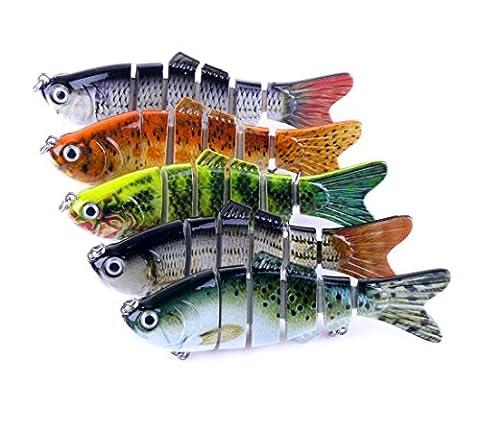 A-SZCXTOP Multi Jointed Fishing Lures Hard Baits Lifelike Segment Swimbait Bass Crankbaits 18g 10cm