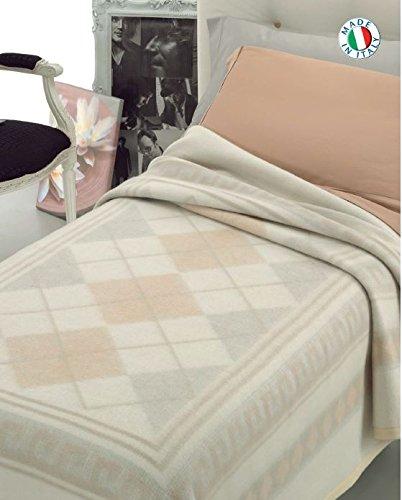 Coperta in 100% lana disponibile in 3 misure prodotta in italia - fantasia classica moderna - una piazza 150x210 cm singola