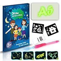 TaiRi Children Writing Drawing Board Draw with Light Fun and Developing Toy Educational Fluorescent Luminous Board Toy for Kids
