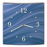 LAUTLOSE Designer Wanduhr mit Spruch Blau Wellen Abstrakt grau weiß modern Dekoschild Abstrakt Bild 29,5 x 28cm