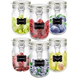 Creative Home 6 x Tarros de Cristal Herméticos con Tapa | 6 x 1L | Set Botes Envases 1 Litro...