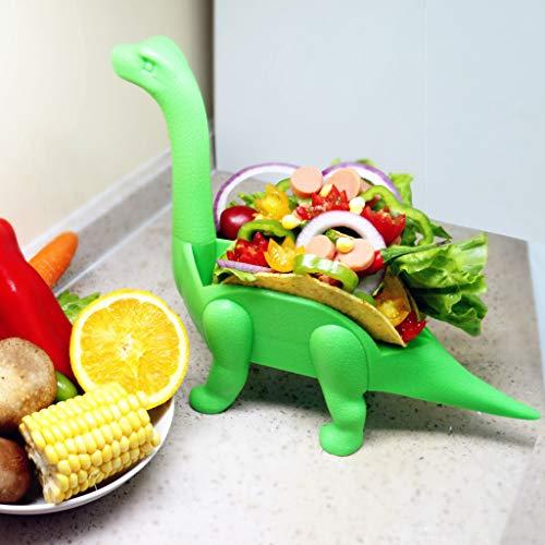 Liqiqi Dinosaurier-Tako-Halter, Kunststoff, Neuheit Dino, Taco-Halter für Kinder, lustige Triceratops, Taco-Ständer für Taco- und Mittagessen Sandwiches grün