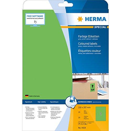 Herma 4424 Farbetiketten ablösbar (210 x 297 mm, Format DIN A4, Papier matt) 20 Stück auf 20 Blatt, grün, bedruckbar, selbstklebend