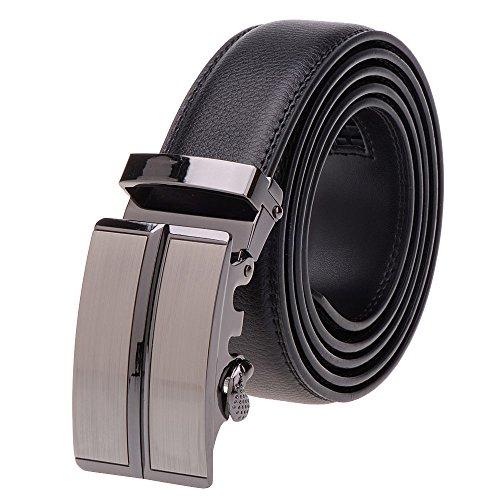 Vbiger Herrer Gürtel Ledergürtel Vollrindledergürtel Schwarz Gürtel aus Leder Automatik Gürtel für Business Geschäft (DG185)