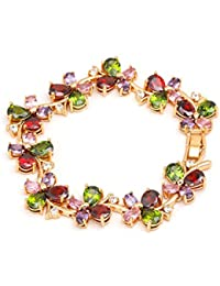 Crunchy Fashion Jewellery Multi Colors Vine Aaa Swiss Cubic Zirconia 18K Rose Gold Plated Sparkling Bangle Bracelet...