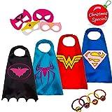 LAEGENDARY Superhelden Kostüm für Kinder – Kleinkind Superhelden Party Outfit - Spielzeug für Jungen und Mädchen - 4 Capes und Maske – Im Dunkeln Leuchtendes Spiderman Logo (Wonder Woman)