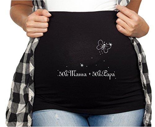 Bauchband Schwangerschaft mit Strasssteine und Spruch 50% Mama+50% Papa