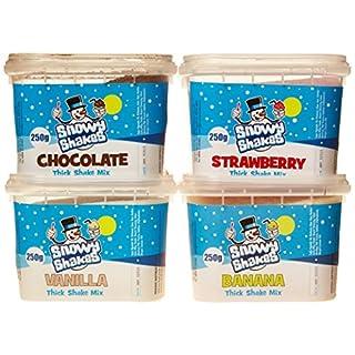 Snowycones Snowyshakes Chocolate/Strawberry/Vanilla/Banana Thick Shake Powder 250 g (Pack of 4)