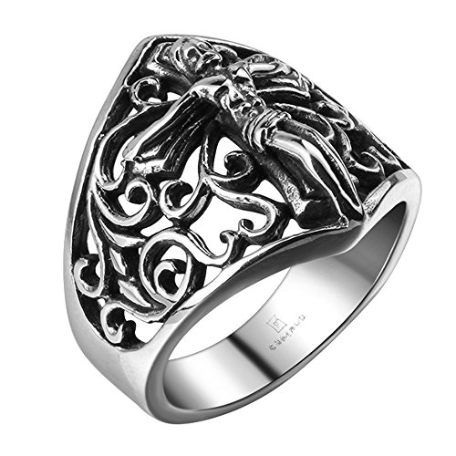 iLove EU Edelstahl Ring Bandring Silber Schwarz Jesus Christus Kruzifix Kreuz Retro Gravur Blume Hohle Openwork Retro Herren - Größe 65