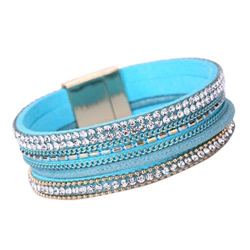 nder DAY.LIN Frauen Böhmisches Armband geflochten geflochten Handmade Wrap Manschette Magnetverschluss (Blau) (Gold-seil-kette Männer)