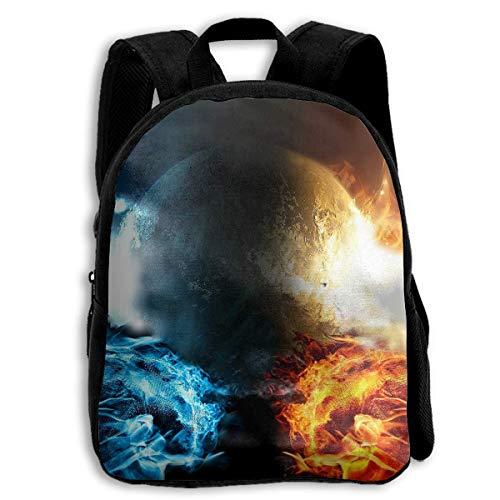 Deglogse Schulrucksack, Schultasche Travel Bookbag, School Season Kids Backpack Travel Gear Daypack,Child Earth Fire Vs Water Shoulder Bag