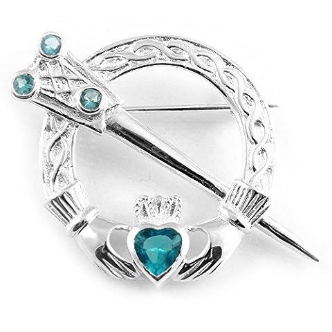 Silverspirit Jewellery Claddagh Silver Tara Brooch with Aquamarine Cubic Zirconia Stone