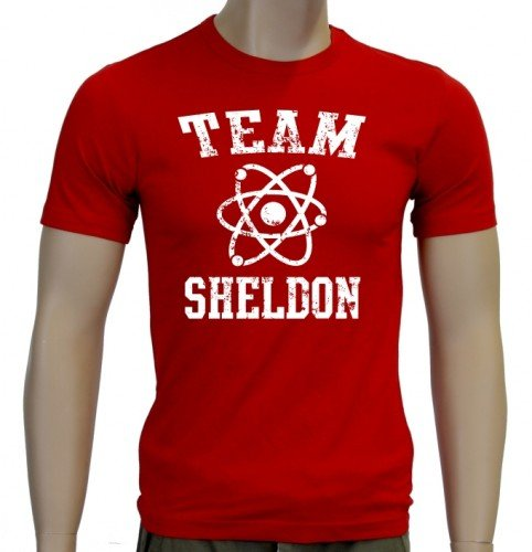 Coole-Fun-T-Shirts T-Shirt Team Sheldon - Big Bang Theory !  Vintage Slimfit, rot weiß, M, 10748_Rot_Weiss_SLIM_GR.M (Coole Vintage Shirts)