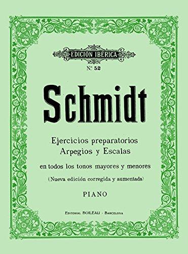 Ejercicios preparatotios arpegios y escalas en todos los tonos mayores y menores : para piano por Aloys Schmidt