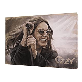 OZZY OSBOURNE WITH CHARCOAL SOFT PASTEL PAINT PRINT ON FRAMED CANVAS 12x 8inch -18mm depth