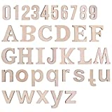 LegendTech 124PCS Holz Buchstaben und Zahlen Alphabet Dekorative Holzbuchstaben 0-9 Holznummern Exquisites Dekoratives Set für Kunst und Handwerk DIY Dekoration Display 45*4mm Original Holzfarbe