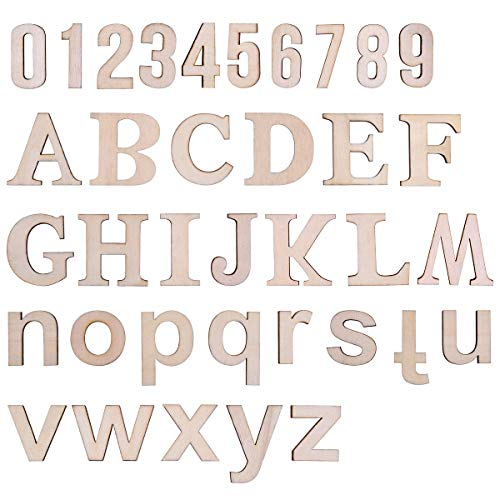 LegendTech 124PCS Holz Buchstaben und Zahlen Alphabet Dekorative Holzbuchstaben 0-9 Holznummern Exquisites Dekoratives Set für Kunst und Handwerk DIY Dekoration Display 45*4mm Original Holzfarbe (Holz-buchstaben Zahlen)