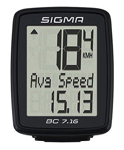 Sigma Sport Fahrrad Computer BC 7.16, 7 Funktionen, Durchschnittgsgeschwindigkeit, Kabelgebundener Fahrradtacho, Schwarz (Sigma Fahrrad-shop)