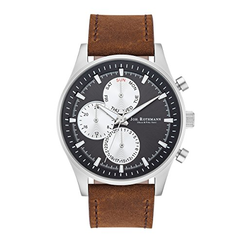 Joh. Rothmann Ansgar Men's Multifunctions Watch Grey Bracelet in Genuine leather / real leather Brown Waterproof / Water-resistant 5 ATM 10030113