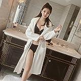 GFEI l'hiver chaud femmes pyjama rose velours épais robe brodée de corail.,l,white