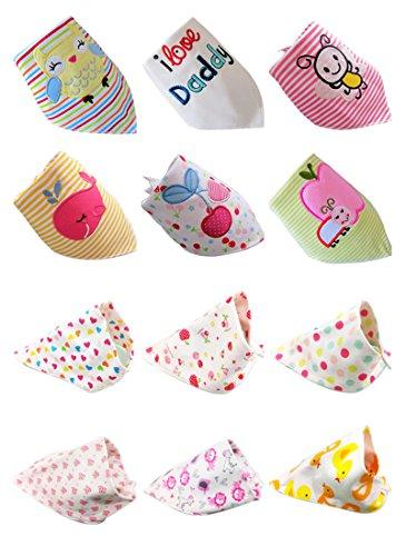 Norcci 12er Baby Kinder Cartoon Baumwolle Dreieckstuch Lätzchen Babylätzchen Halstuch Mit Druckknöpfen Multifunctional (für Mädchen)