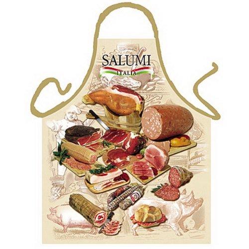 Grillschürze - Kochschürze - Italienische Salami - Lustige Motiv Schürze als Geschenk für Grill Fans mit Humor