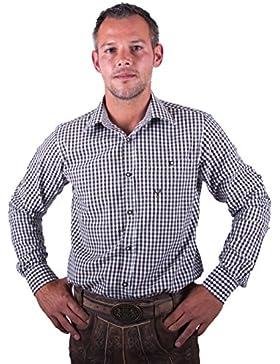 Almwerk Herren Trachten Hemd kariert Modell Ottmar 100% Baumwolle in Rot, Tanne, Schwarz, Dunkelblau, Hellgrün...