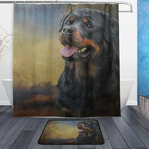 g mit Rottweiler- / Hund-Motiv, 167,6x 182,9cm, mit Badteppich & Haken, schimmelresistent & wasserdicht, Polyester, Badezimmer-Vorhang-Set ()