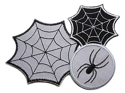 Set Spinne Spinnennetz Patch Applikation zum Aufbügeln Aufnäher Accessoire gestickt ()