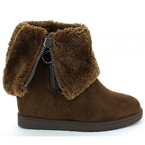 Ideal Shoes - Bottines compensées et fourrées effet daim Nouara Marron