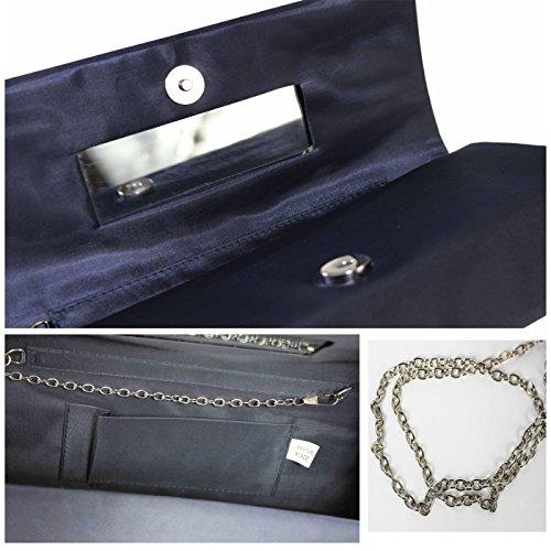 Glamexx24 Damen Satin Clutch Tasche Handtasche Party Hochzeit Abendtasche Umhängetasche AT201601 Silver