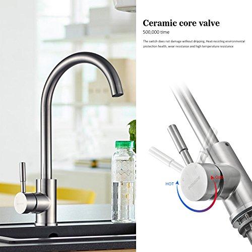 Kinse® Elegant Gebürstet Silber Küchearmatur Mischbatterie Spültischarmatur aus Edelstahl SUS304 mit ABS Bubbler Kann Wasser 30% Sparen für Küche Waschbecken - 3