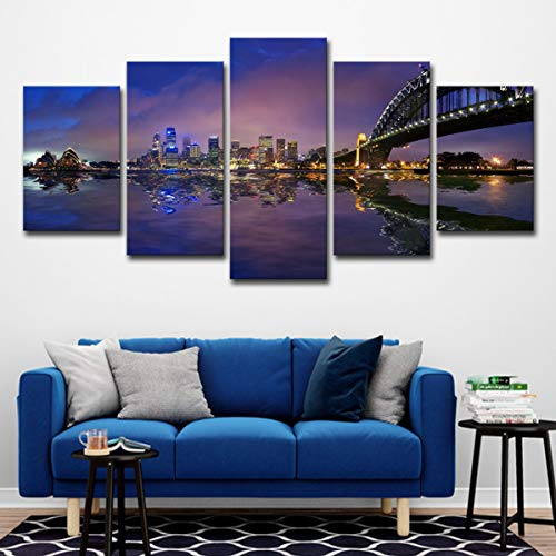 baokuan86 Poster 5 Sydney Harbour Bridge City Nachtwand Art Deco Ölgemälde-M (Sydney Harbour Bridge Poster)