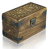 Piraten-Schatztruhe von Thunderdog - Holztruhe braun - Handarbeit Vintage mit und ohne Schloss verschiedene Größen - das ideale Geschenk (Double Flower S 20x12x12cm)
