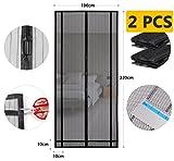 Sekey 2PCS 220 x 100 cm Magnetvorhang zum Insektenschutz, idealer magnetischer Fliegengitter für Balkontür, Kellertür, Terrassentür (zuschneidbar in Höhe und Breite) durch kinderleichte Klebemontage, schwarz