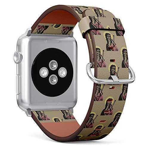tch Armband, Echtes Leder Uhrenarmband f¨¹r Apple Watch Series 4/3/2/1 Sport Edition 38/40mm - Christian Saint St. John The Baptist with Nimbus ()