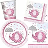 Umbrellaphants Pink Baby Shower Party Pack
