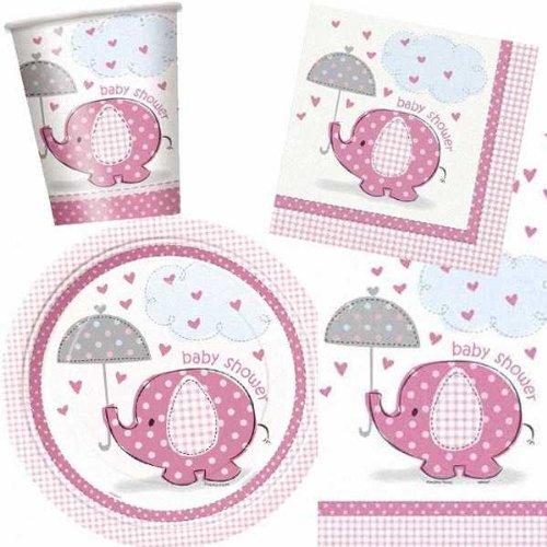 Baby Shower - Menaje para Fiesta con Elefante Rosa con Sombrilla -...