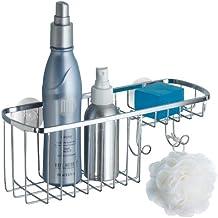 mDesign Repisa para baño colgante en acero inoxidable – Estante para ducha  con lugar para champú 6197ac1678cb