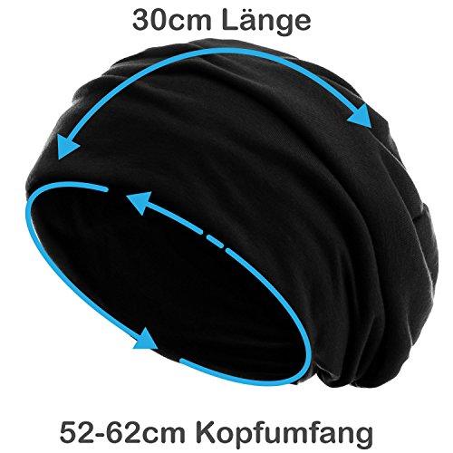 style3 Slouch Beanie aus atmungsaktivem, feinem und leichten Jersey Unisex Mütze, Farbe:Schwarz - 4