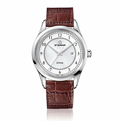 Eterna Men's Quartz Watch with White Dial Analogue Display and Brown Leather Strap 2520.41.64.1259