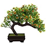 GTidea Fake Potted Plants Artificial Bonsai Plastic Pine Tree Home Office Tabletop Zen Feng Shui Greenery Decor Green/Orange